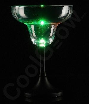 LED Margarita Glass Black Stem - 7 oz.