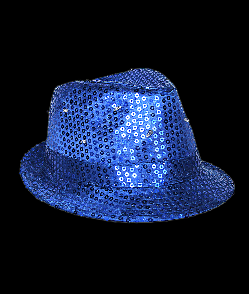 Fun Central O746 LED Light Up Sequin Fedora - Blue