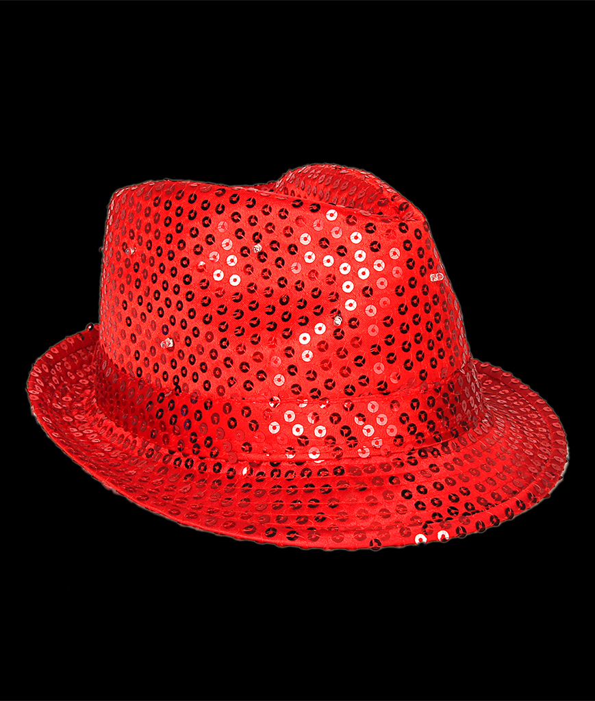 Fun Central O751 LED Light Up Sequin Fedora - Red