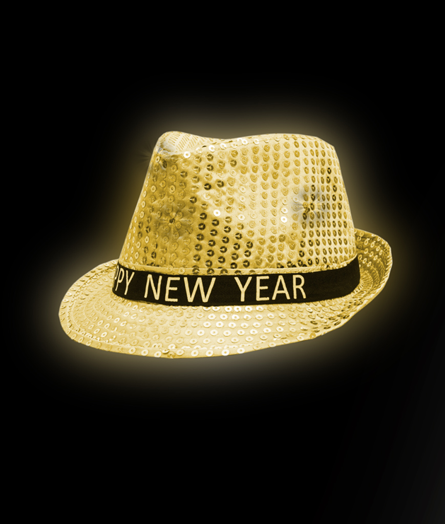 LED Sequin New Year Fedora - Gold