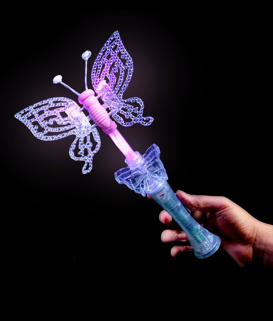 Fun Central R349 LED Light Up Multicolor Butterfly Wand with Sound