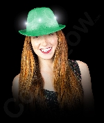 LED Neon Sequin Fedora- Green