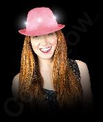 Fun Central AI754 LED Light Up Neon Sequin Fedora- Hot Pink