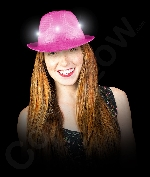 Fun Central AI751 LED Light Up Neon Sequin Fedora- Pink