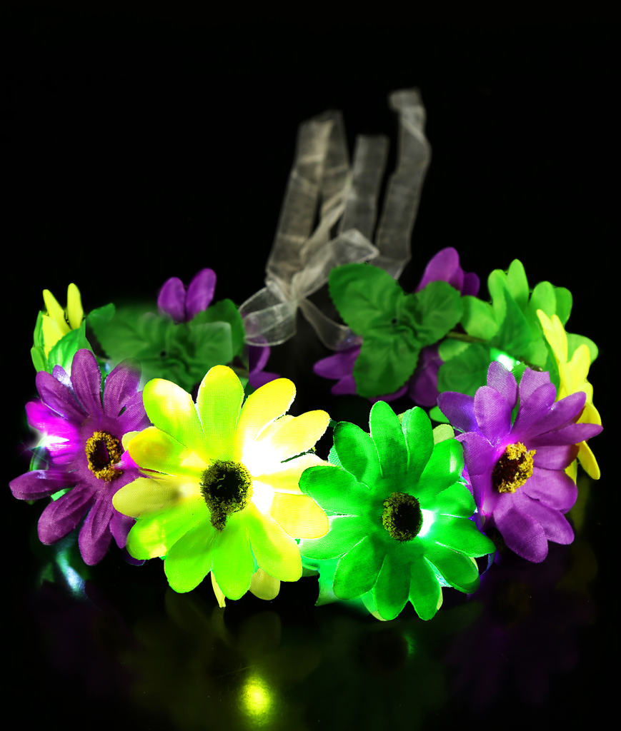 Fun Central BC959 LED Light Up Light-up Mardi Gras Flower Halo
