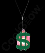 LED Dollar Sign Necklace with Black Lanyard