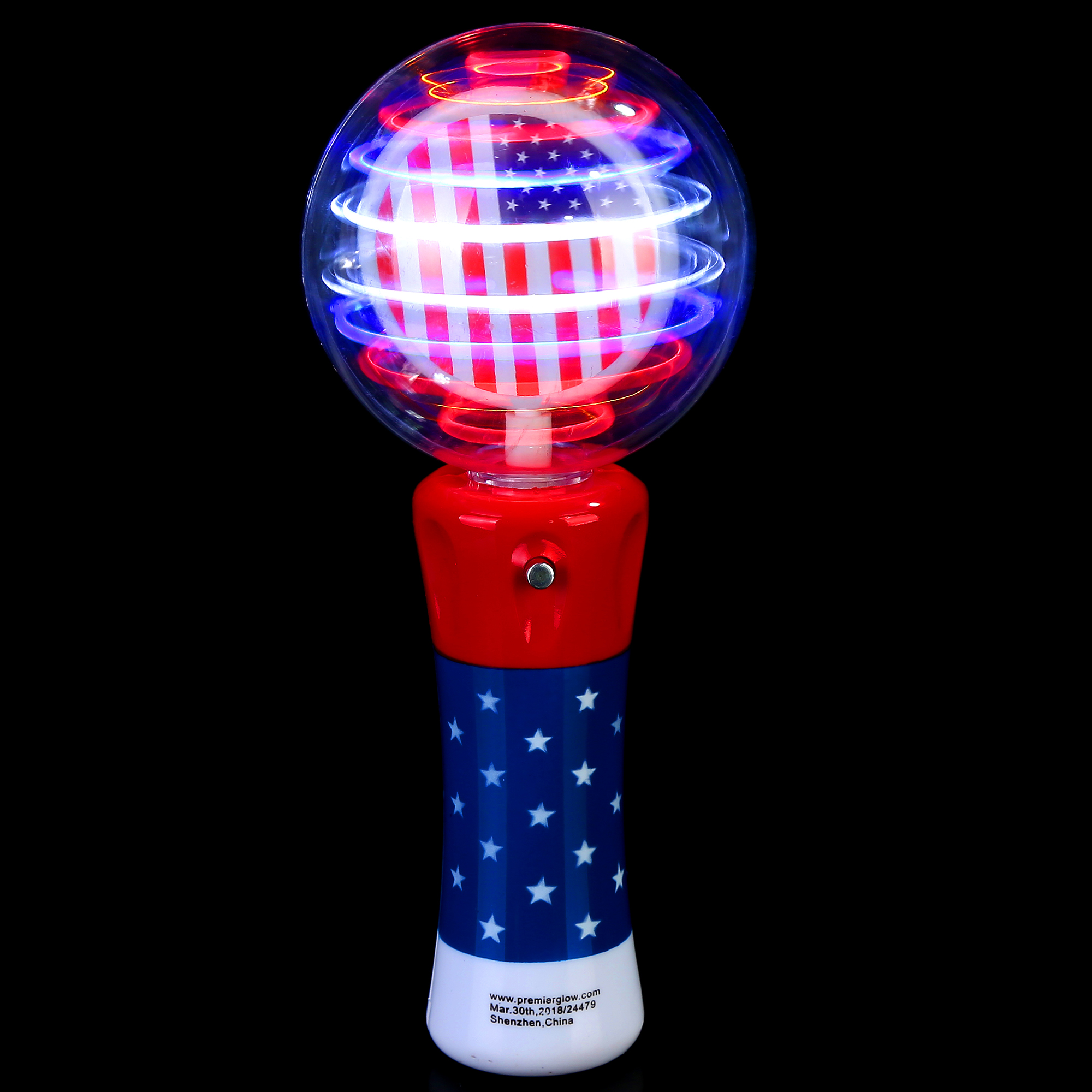 Fun Central O561 LED Light Up Spinner Wand - Red-White-Blue