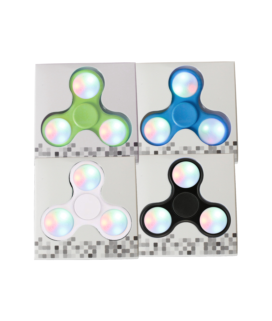 LED Push Button Finger Spinner with 9 LEDs 4ct-Assorted