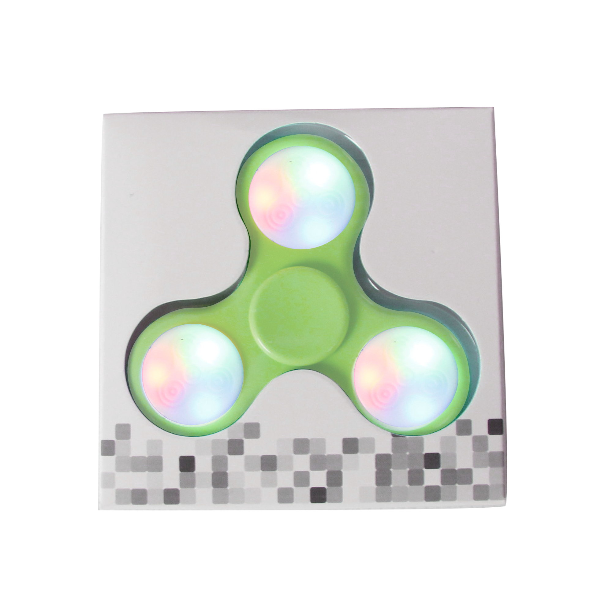LED Push Button Finger Spinner with 9 LEDs - Green