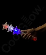 Fun Central O559 LED Light Up Triple Star Wand - Red-White-Blue