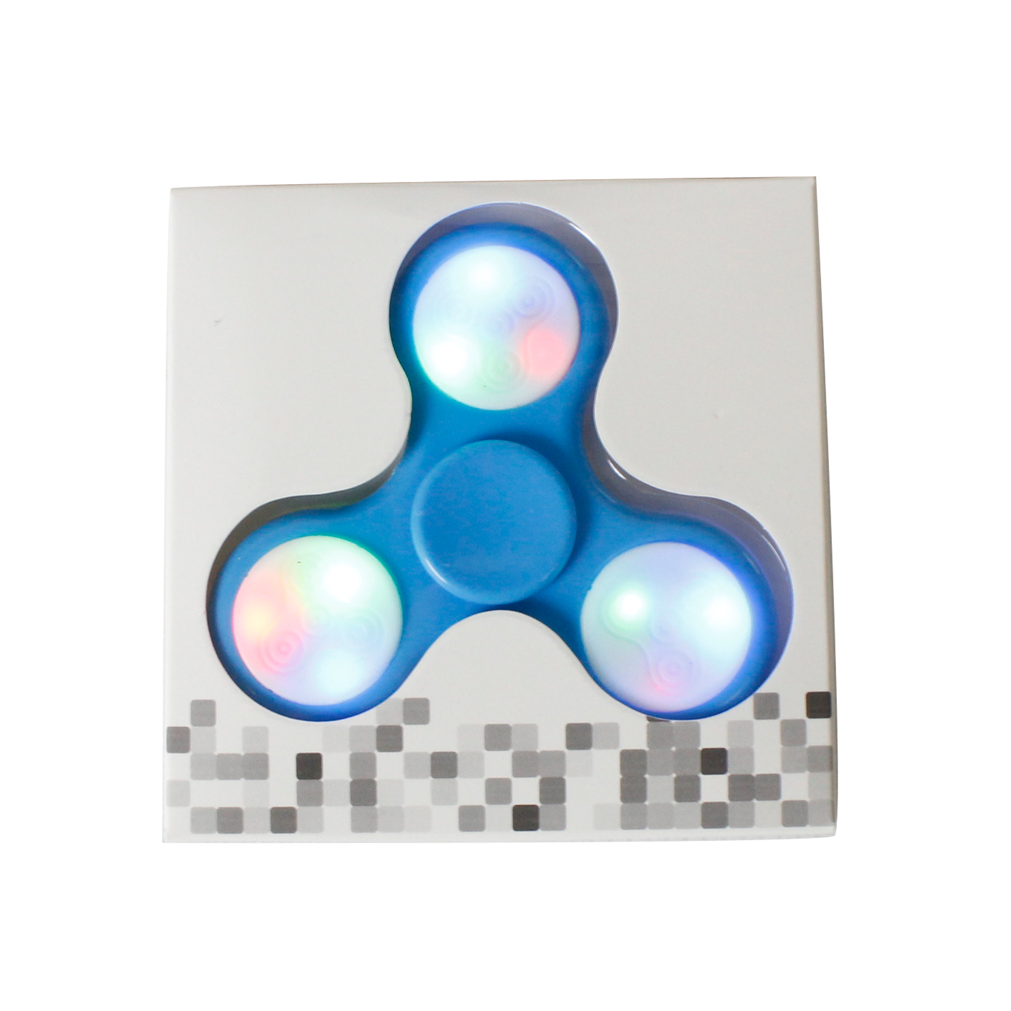 LED Push Button Finger Spinner with 9 LEDs - Blue