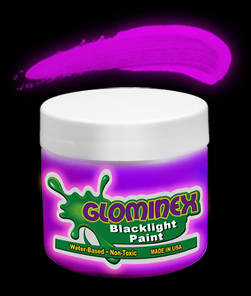 Glominex Blacklight UV Reactive Paint 8 oz Jar - Purple