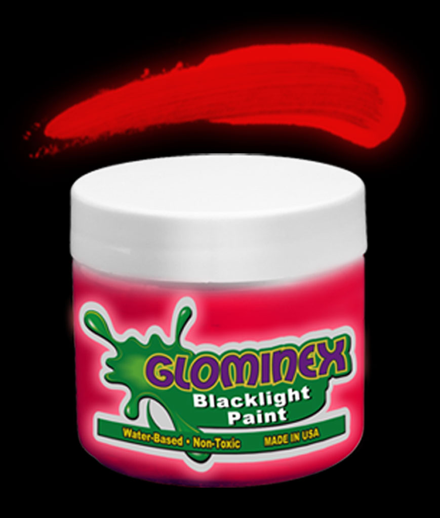 Glominex Blacklight UV Reactive Paint 8 oz Jar - Red