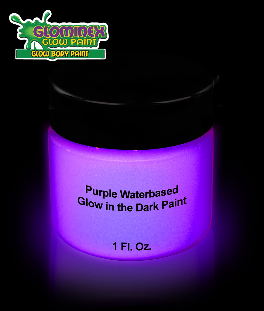 Glominex AD390 Glow in the Dark Body Paint 1oz Jar - Purple