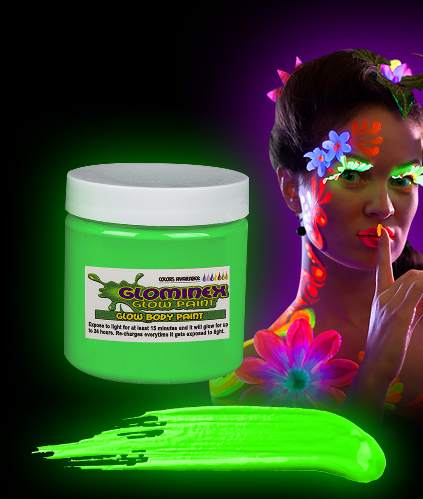 Glominex AC830 Glow in the Dark Body Paint 4oz Jar - Green