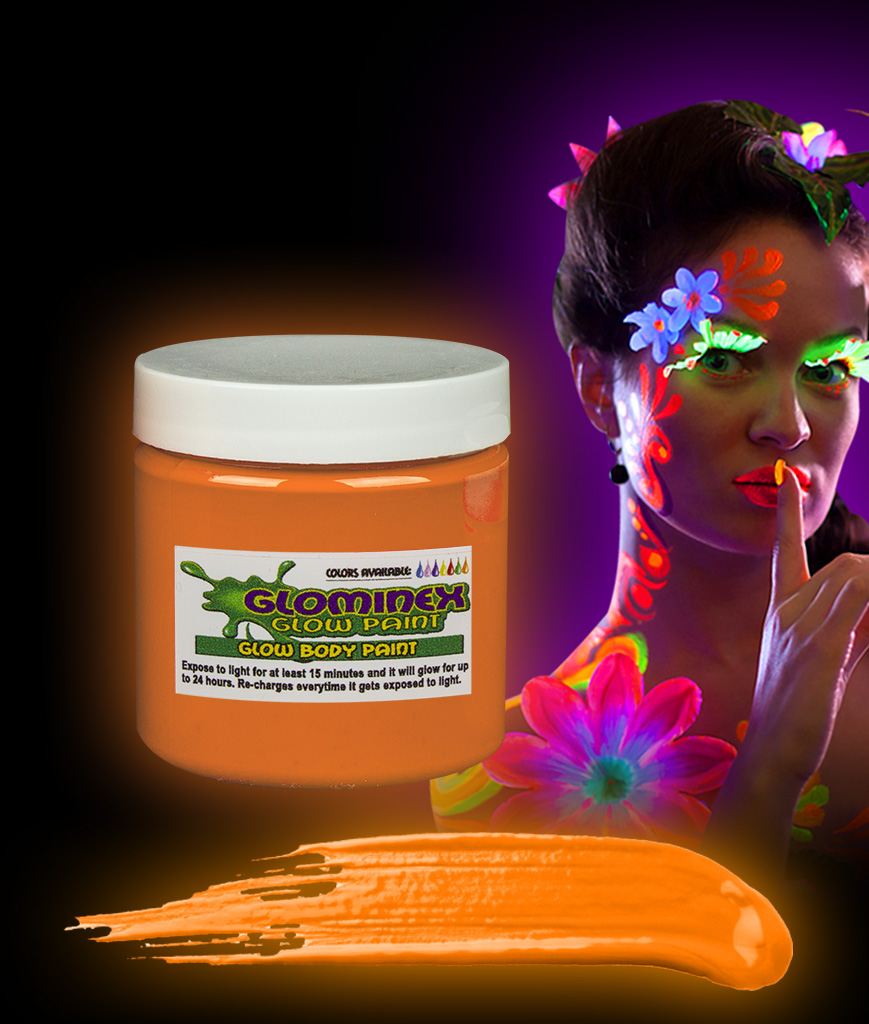 Glominex AC836 Glow in the Dark Body Paint 4oz Jar - Orange