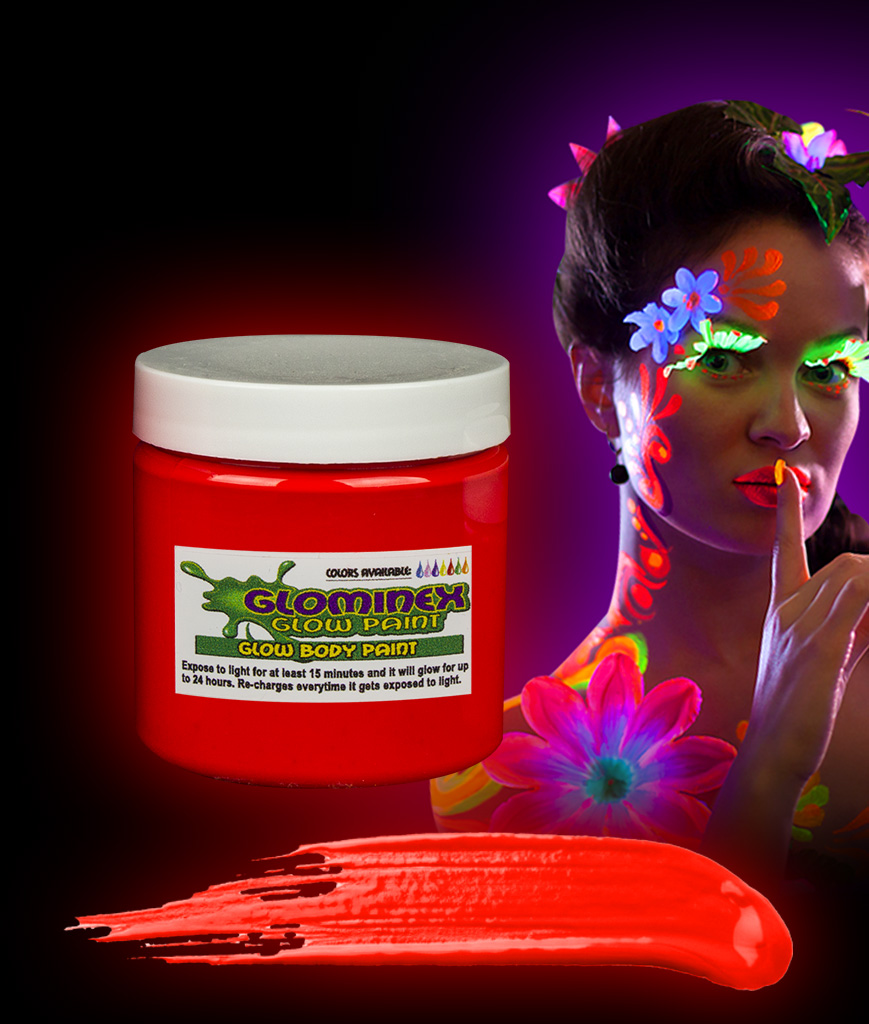 Glominex AC833 Glow in the Dark Body Paint 4oz Jar - Red