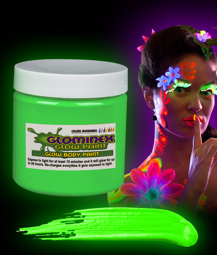 Glominex AC837 Glow in the Dark Body Paint 8oz Jar - Green