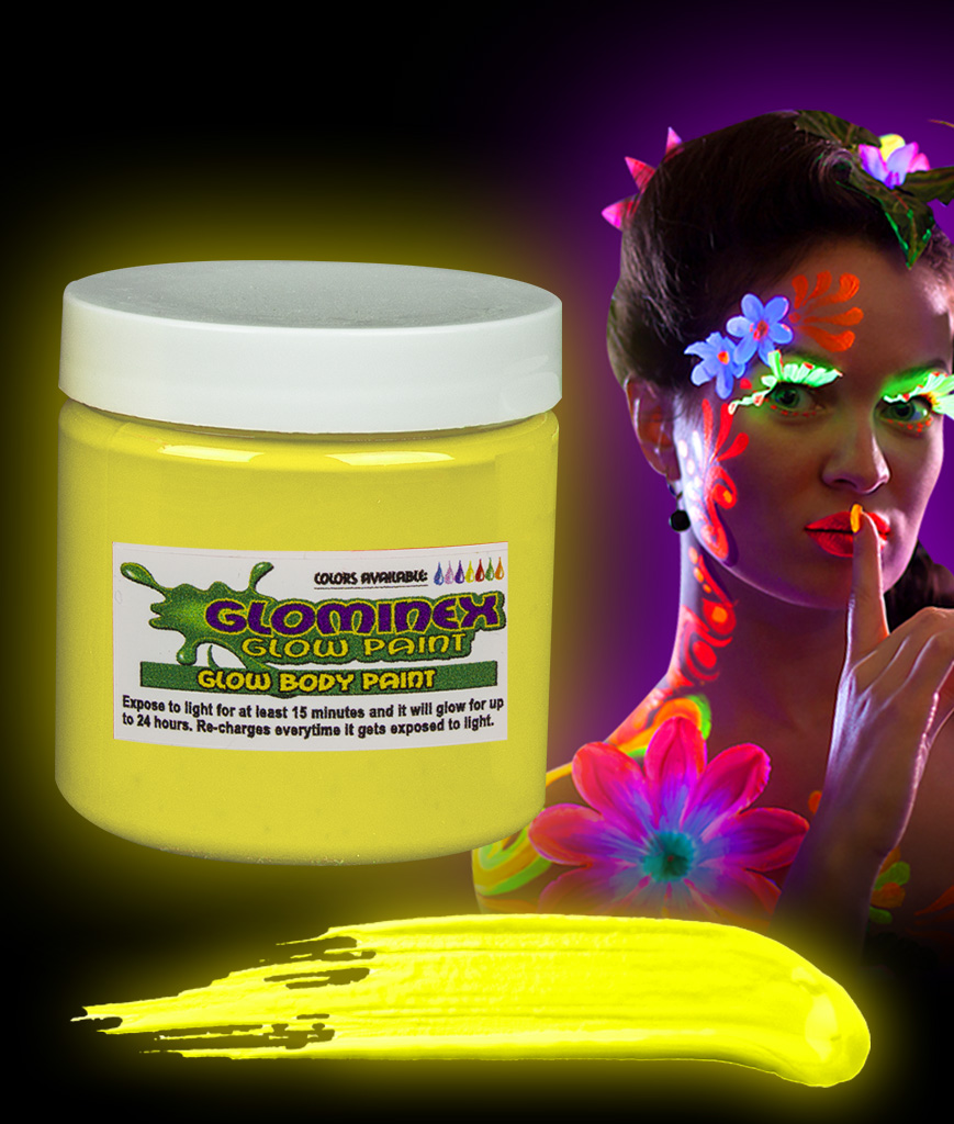 Glominex AC841 Glow in the Dark Body Paint 8oz Jar - Yellow