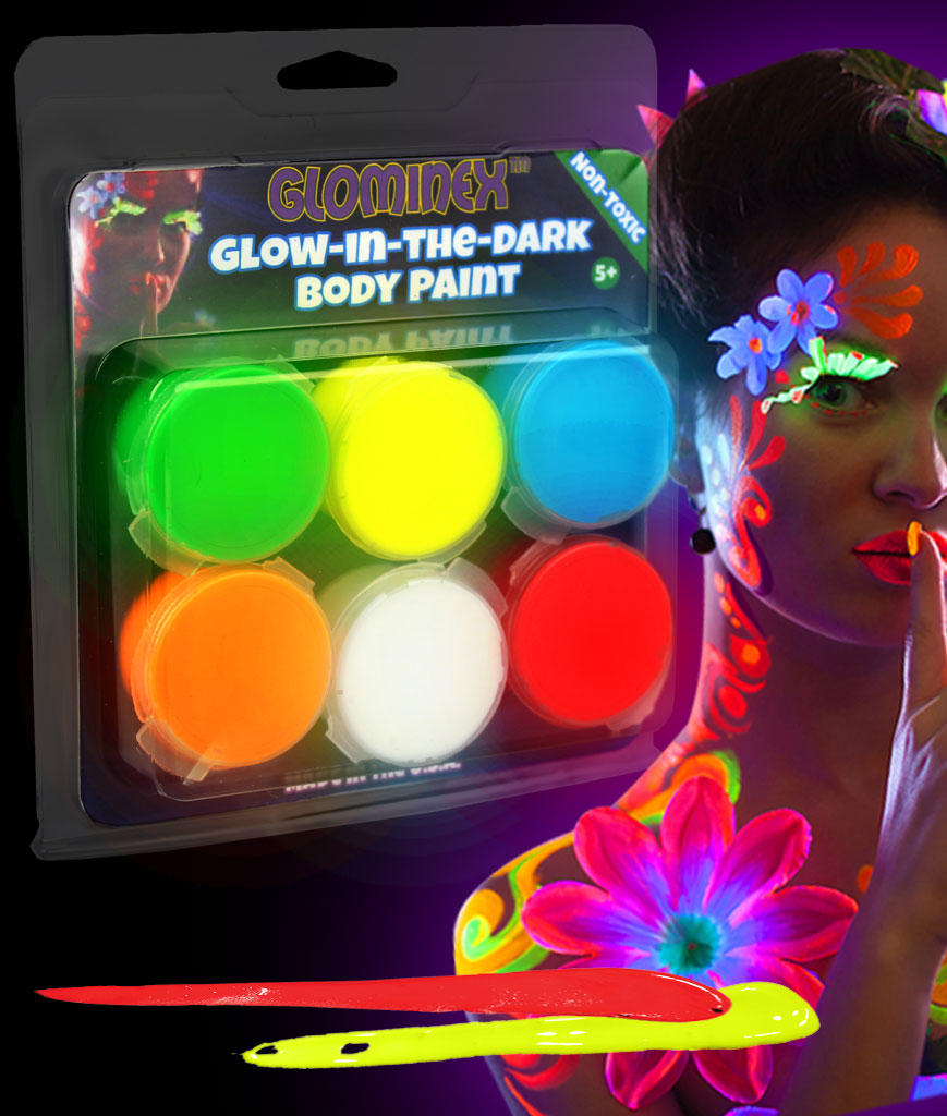 Glominex AR698 Glow in the Dark Body Paint Clamshell Pack - Assorted