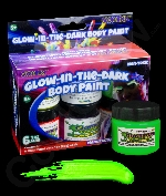 Glominex AM619 Glow in the Dark Body Paint 1oz Jars - Retail Ready 6 Pack - Assorted