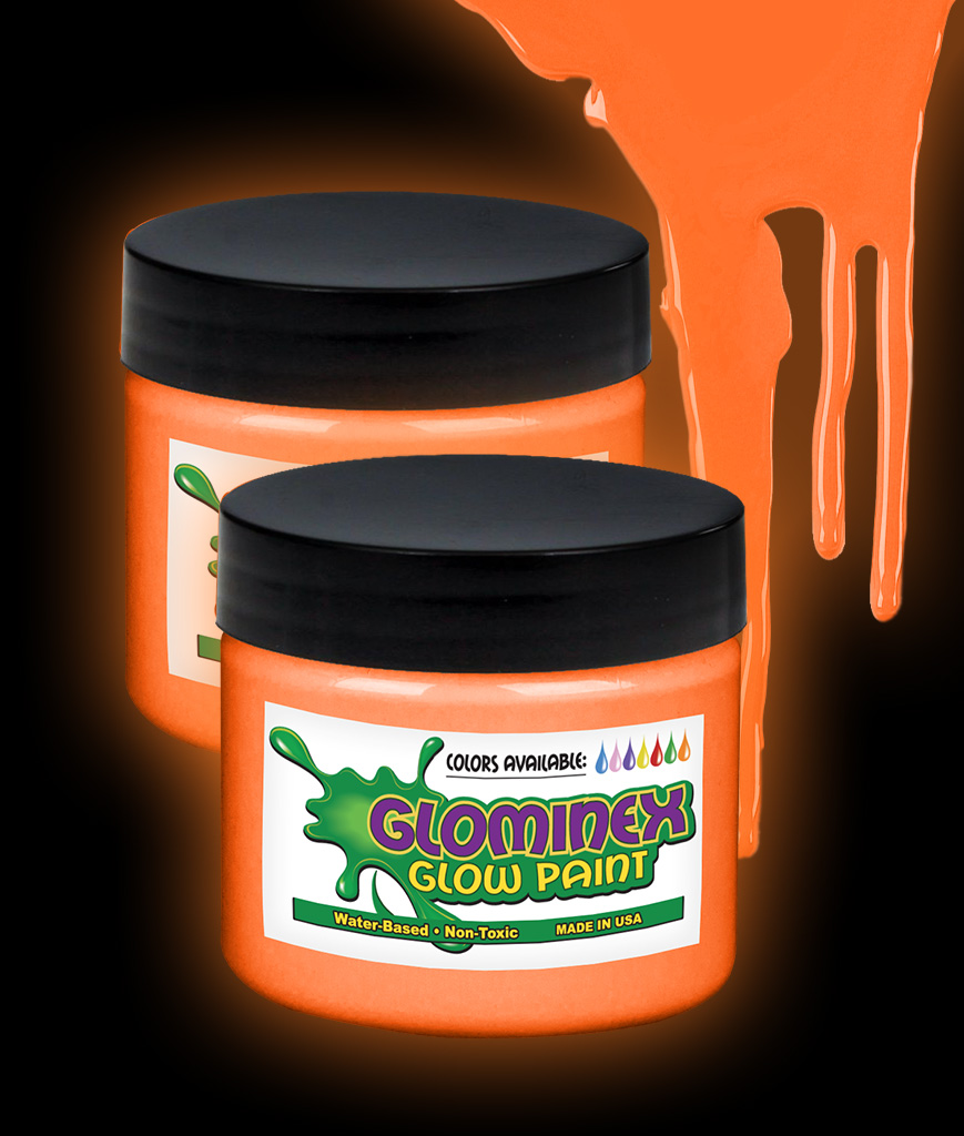 Glominex Glow Paint 4 oz Jar - Orange