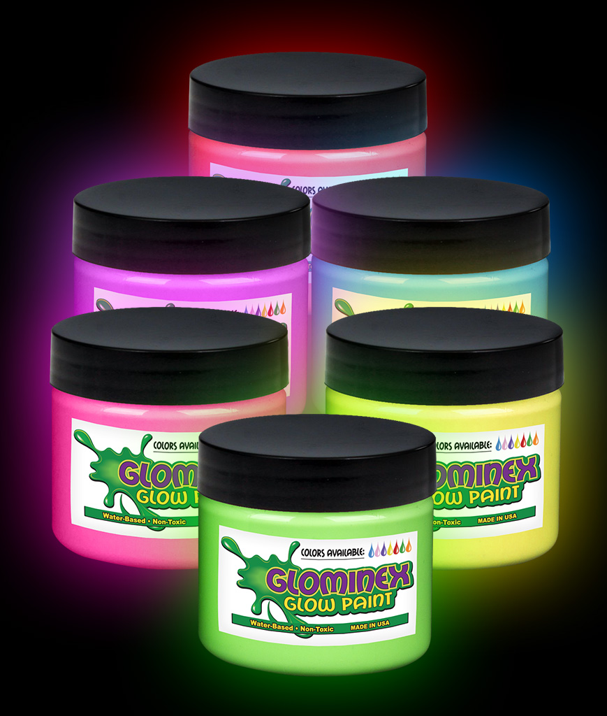 Glominex Glow Paint 8 oz Jars - Assorted