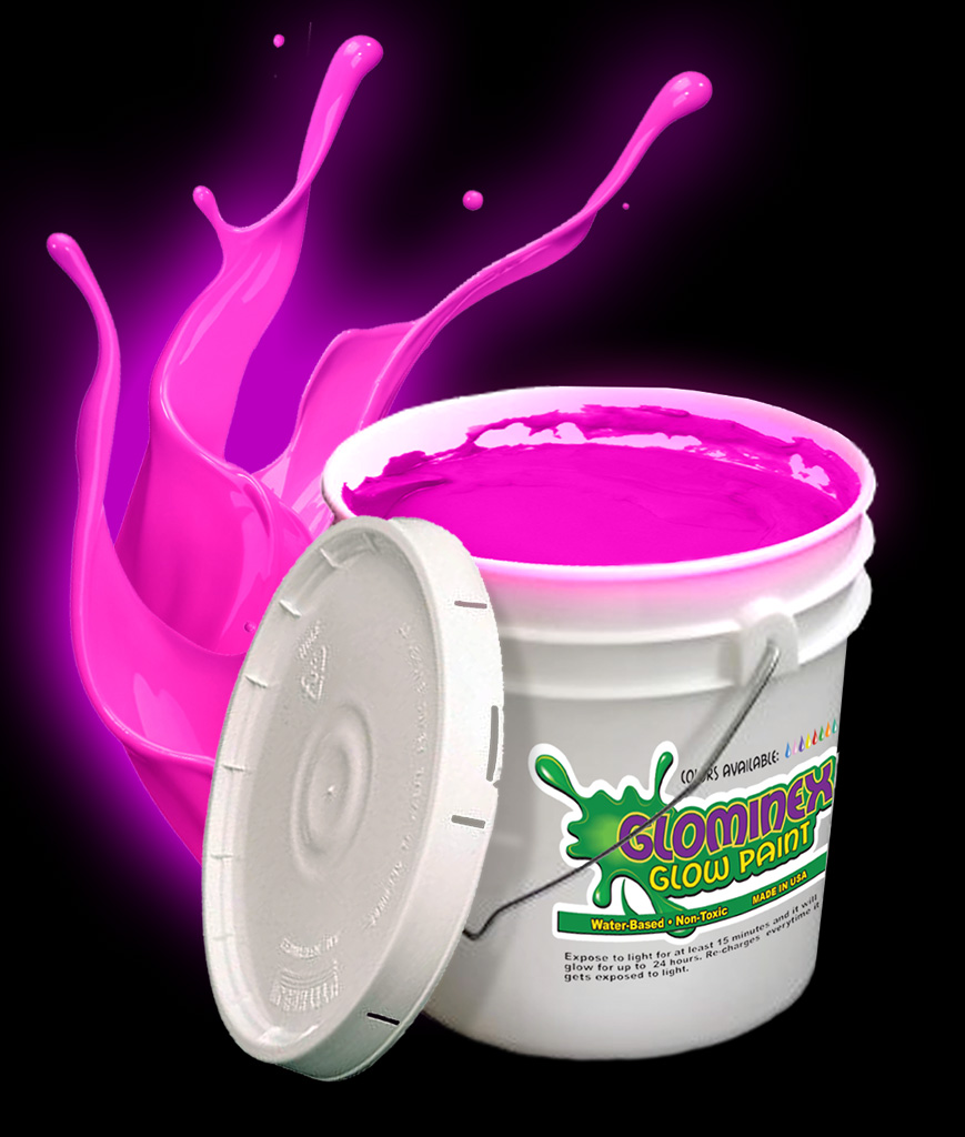 Glominex Glow Paint Gallon - Pink