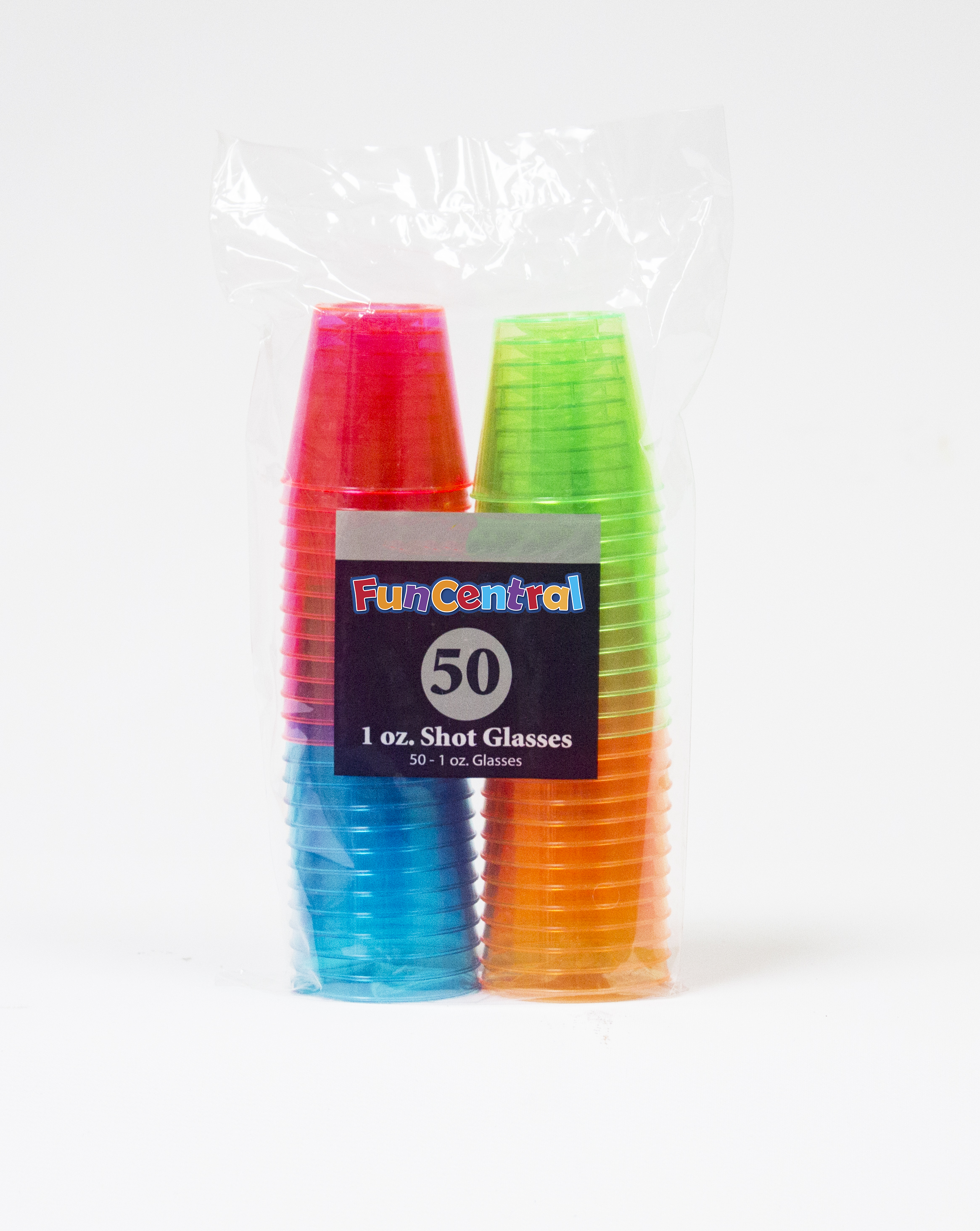 Fun Central 1 oz Shot Glass Assorted Neon - 50 ct