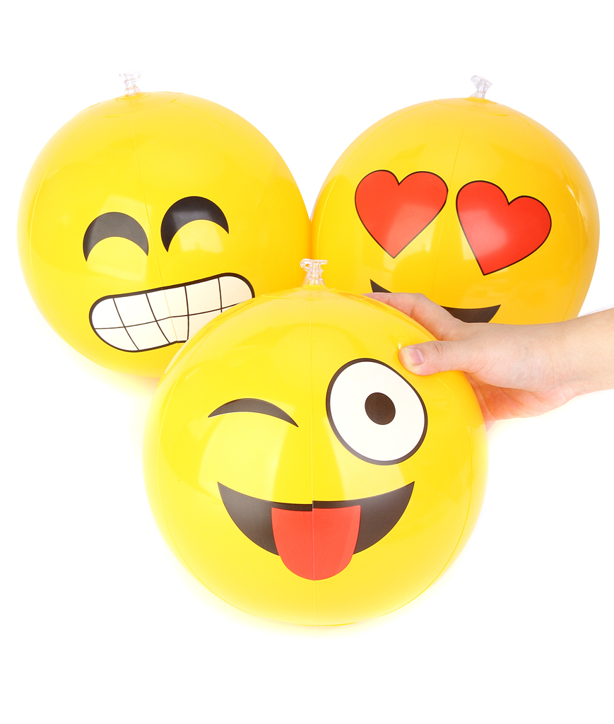 12 Emoji Inflatable Beach Balls - 12 Pack