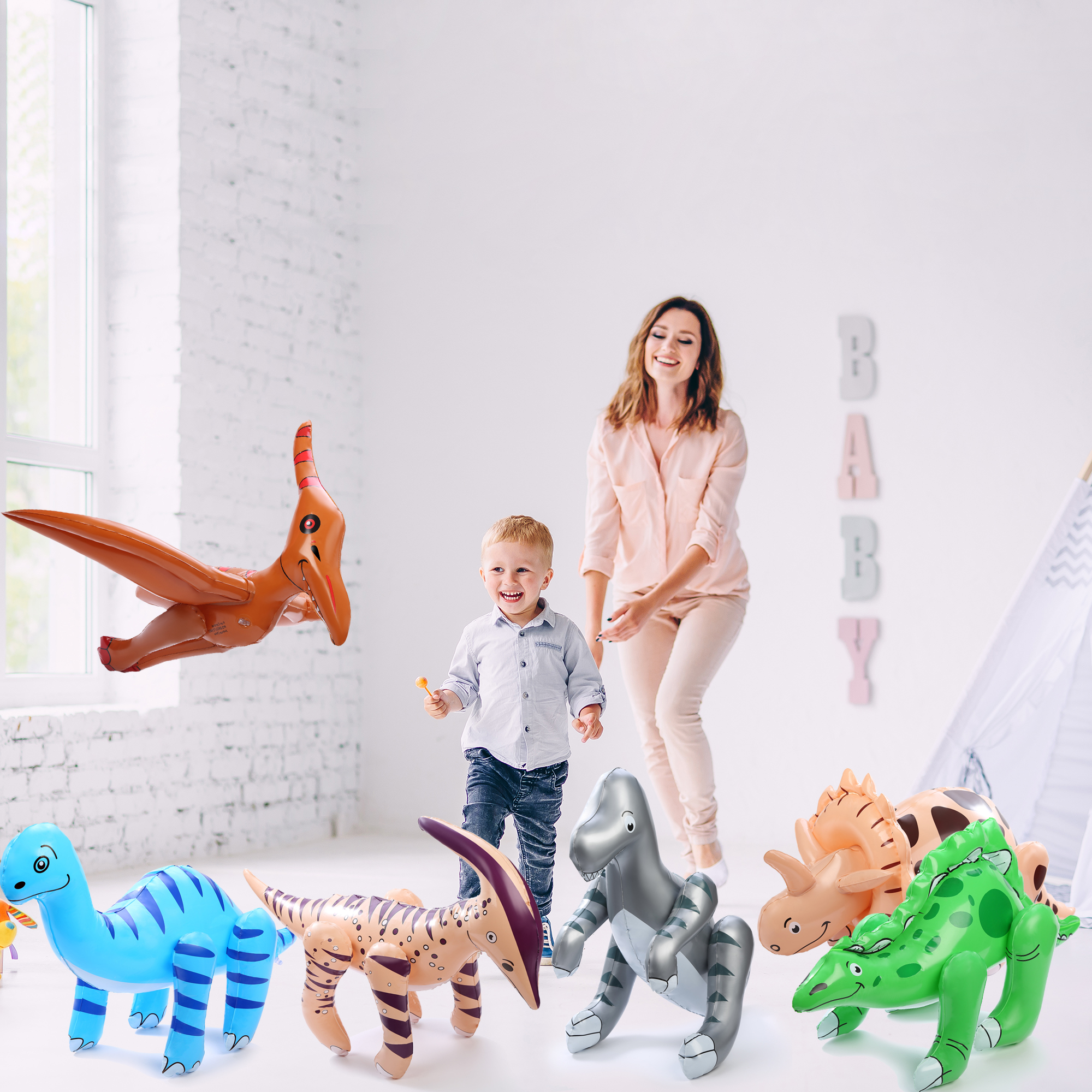 24 Inch Inflatable Dinosaurs Assorted - 6pc