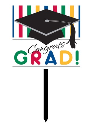 Graduation Stripes Plastic Yard Sign