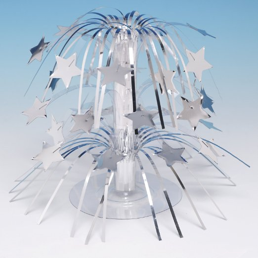 Silver Stars Foil Spray Centerpiece- 8in