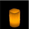5 Inch Flameless Blow On-Off Pillar Candle - Melted Edge - Yellow