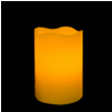 5 Inch Flameless Blow On-Off Pillar Candle - Curved Edge - Yellow