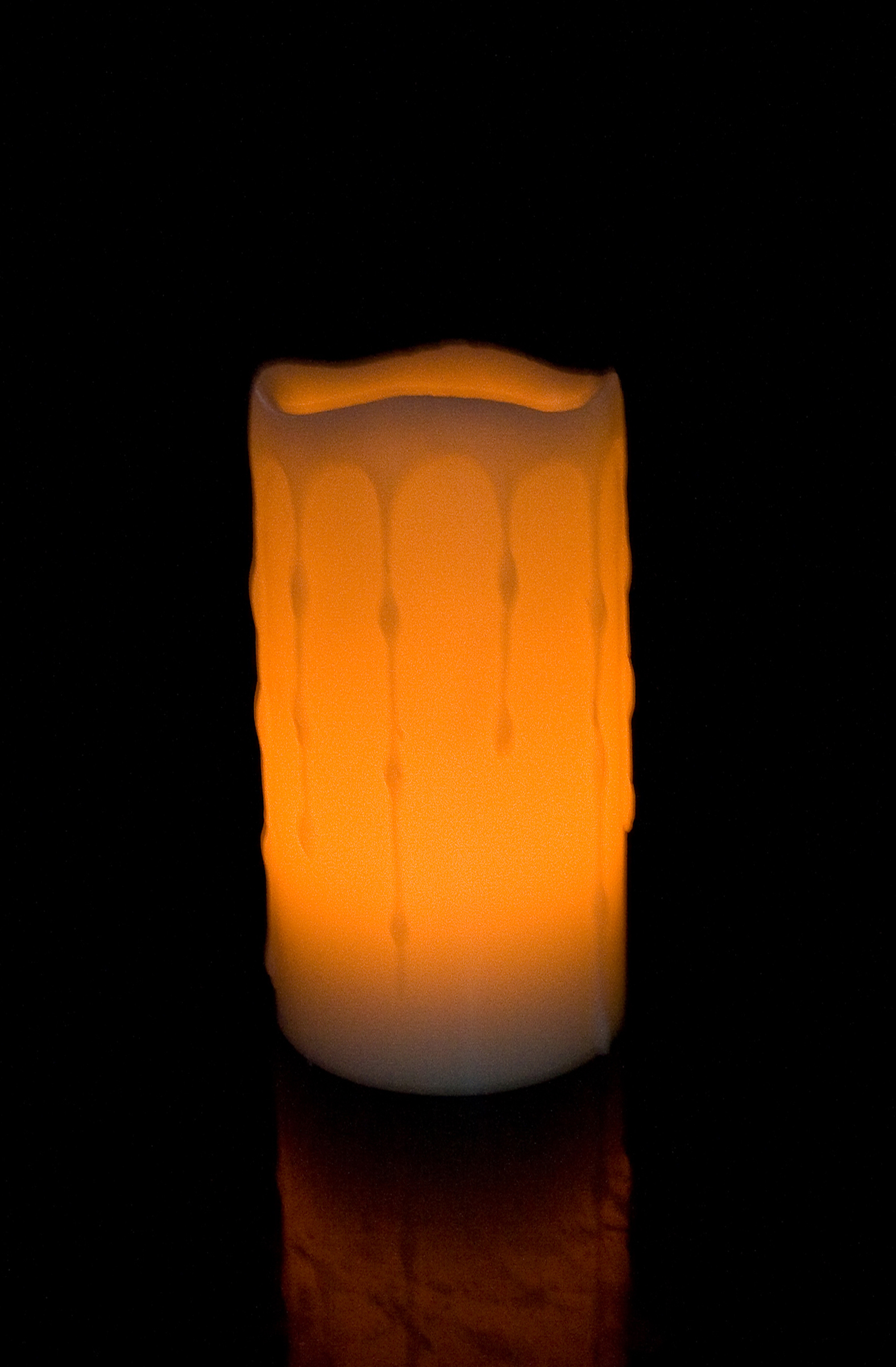 6 Inch Flameless Blow On-Off Pillar Candle - Melted Edge - Yellow