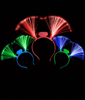 Fun Central I510 LED Light Up Fiber Optic Headbands - Assorted