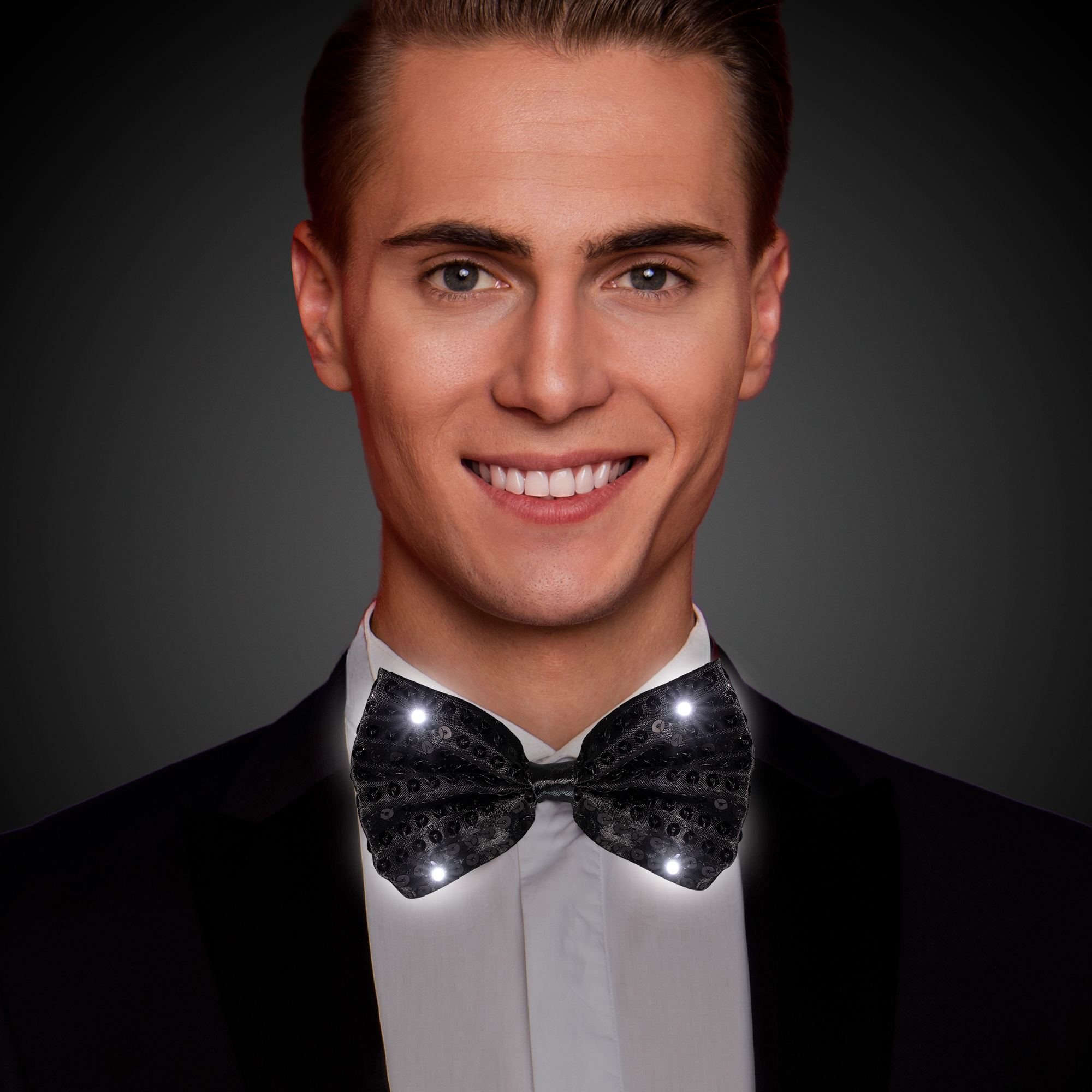BLACK SEQUIN LU BOW TIE