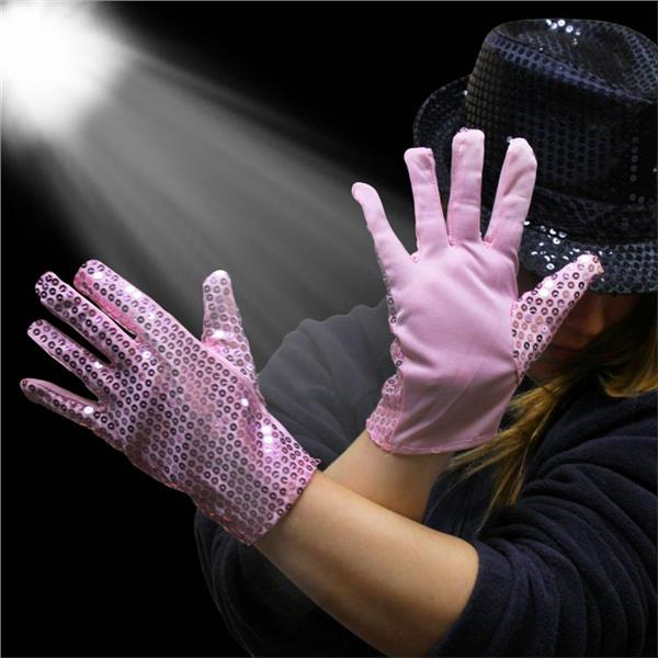 PINK SEQUIN GLOVES - 1 PAIR