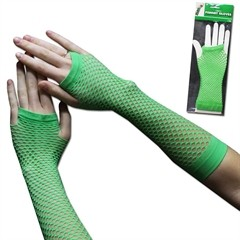 GREEN FISHNET GLOVES