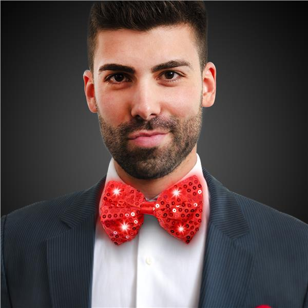 RED SEQUIN LU BOW TIE