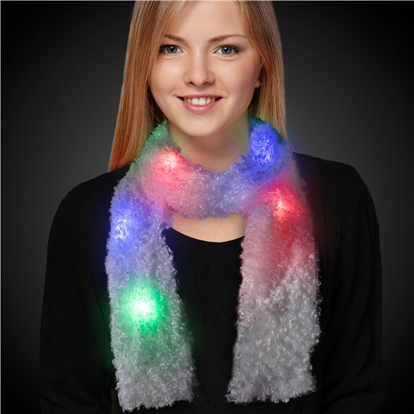 WHITE SCARF WMULTICOLOR LEDS