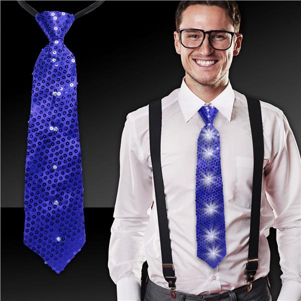 BLUE SEQUIN LED AND LIGHT - UP NECKTIE