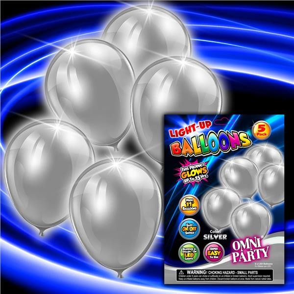 SILVER 5PK- 11 INCH LED BALLOON