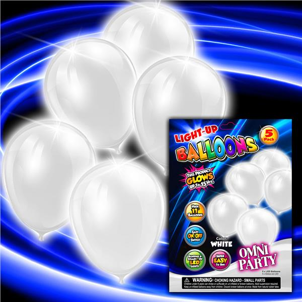 WHITE 5PK-11 INCH LED BALLOONS