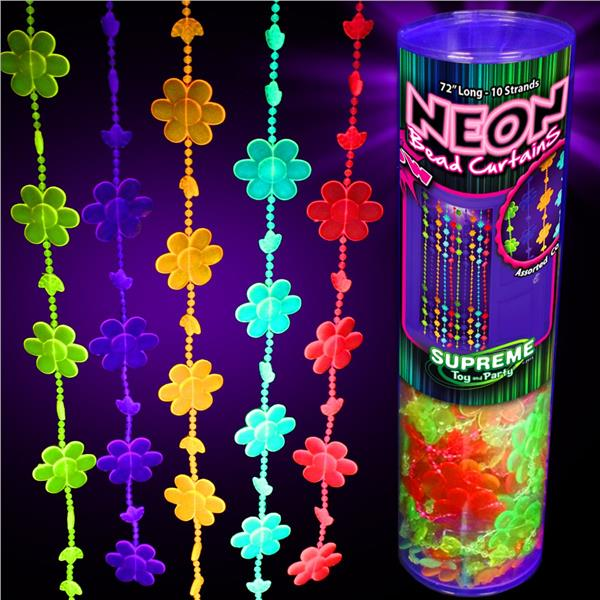 72 INCH NEON GLOW BEAD CURTAINS