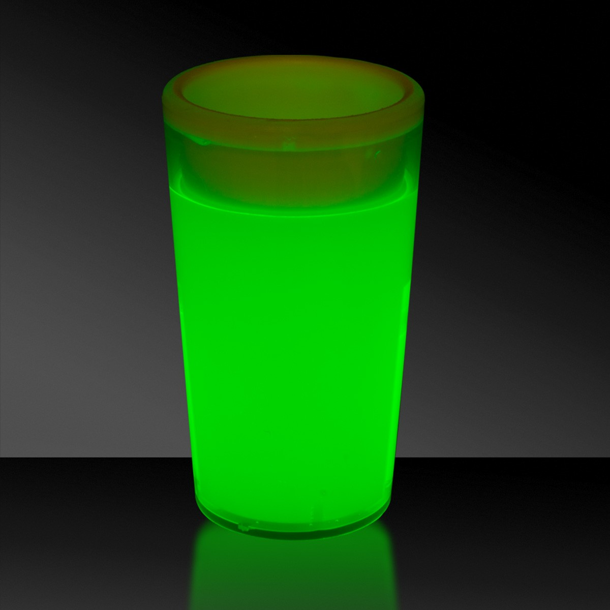 GREEN-TAPERED GLOW SHOT GLASS