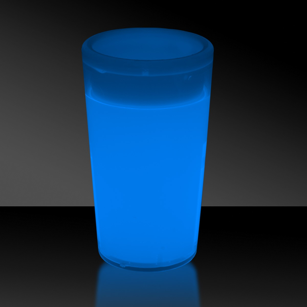BLUE-TAPERED GLOW SHOT GLASS