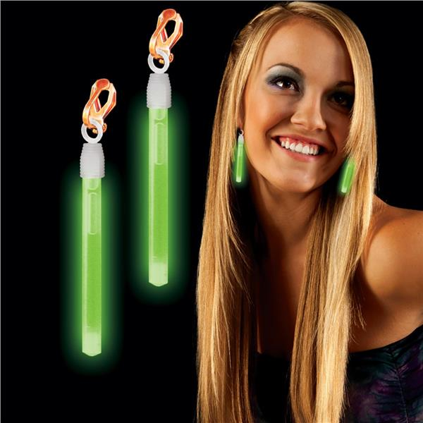 CLIP ON GLOW EARRINGS - GREEN