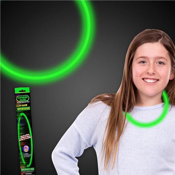 2PK-11 INCH GREEN 6mm GLOW NECKLACE RETAIL PACKAGED
